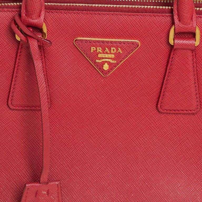 Prada Red Saffiano Lux Leather Mini Galleria Tote For Sale 1
