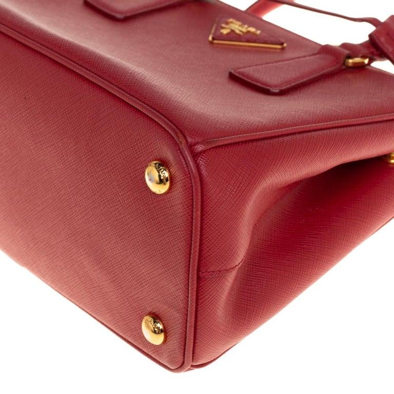 Prada Red Saffiano Lux Leather Mini Galleria Tote For Sale 2