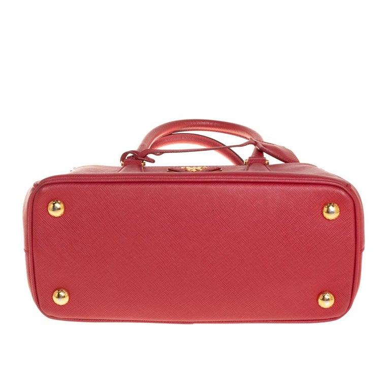 Prada Red Saffiano Lux Leather Mini Galleria Tote For Sale 3