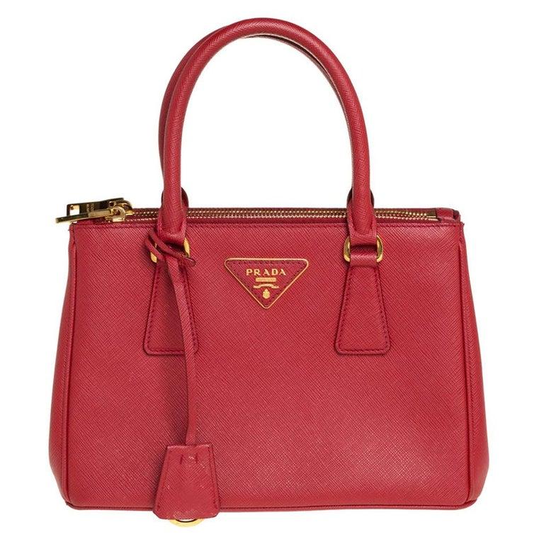Prada Red Saffiano Lux Leather Mini Galleria Tote For Sale