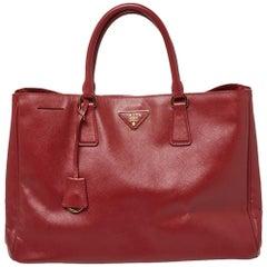 Prada Red Saffiano Lux Leather Open Galleria Tote