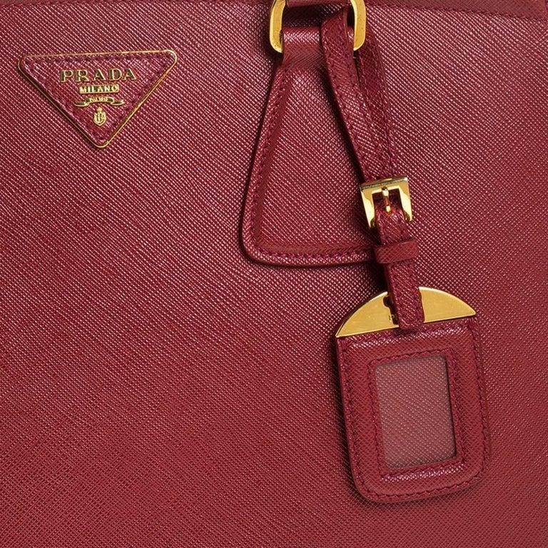 Prada Red Saffiano Lux Leather Parabole Tote Bag For Sale 6