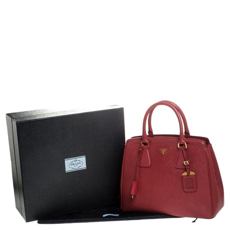 Prada Red Saffiano Lux Leather Parabole Tote Bag For Sale 8