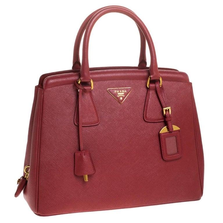 Women's Prada Red Saffiano Lux Leather Parabole Tote Bag For Sale