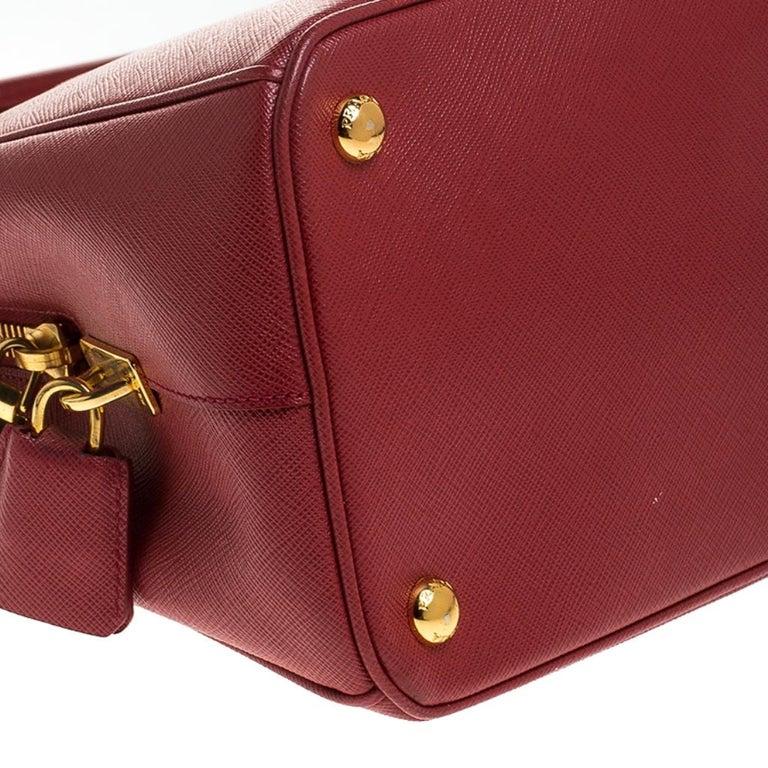 Prada Red Saffiano Lux Leather Parabole Tote Bag For Sale 2