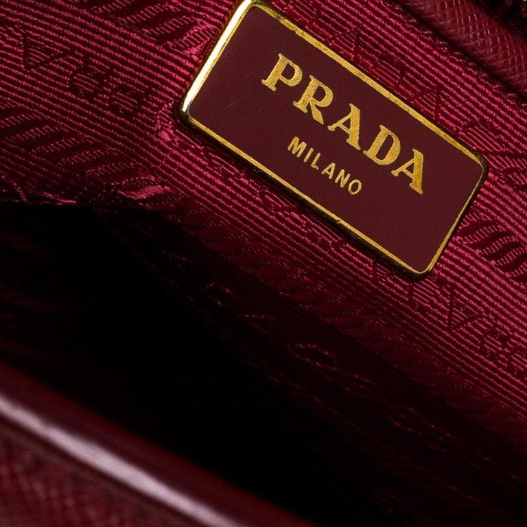Prada Red Saffiano Lux Leather Parabole Tote Bag For Sale 5