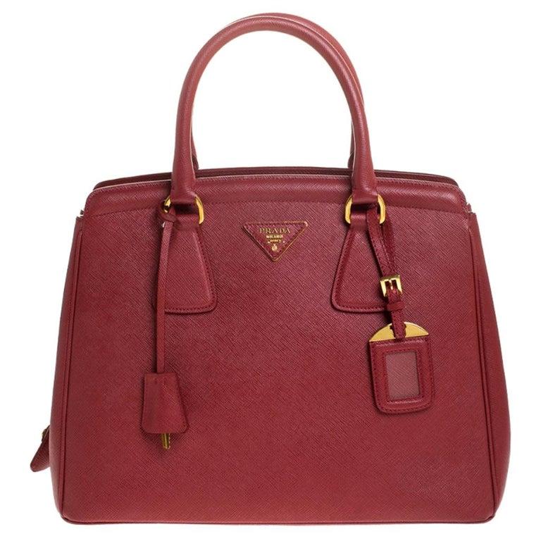 Prada Red Saffiano Lux Leather Parabole Tote Bag For Sale
