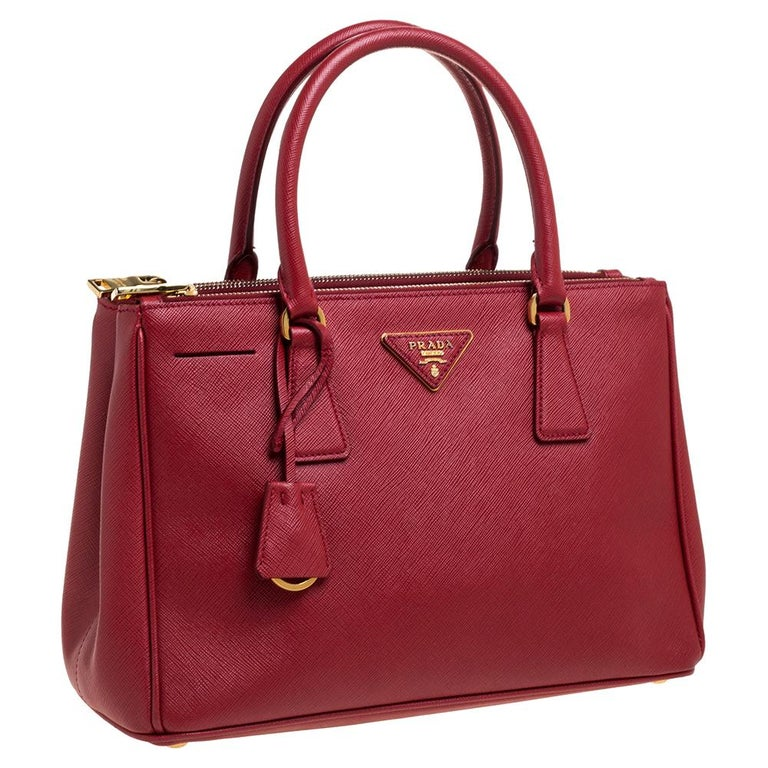 Women's Prada Red Saffiano Lux Leather Small Galleria Double Zip Tote