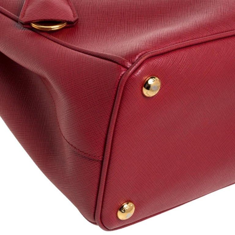 Prada Red Saffiano Lux Leather Small Galleria Double Zip Tote 3