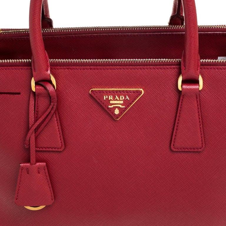Prada Red Saffiano Lux Leather Small Galleria Double Zip Tote 4