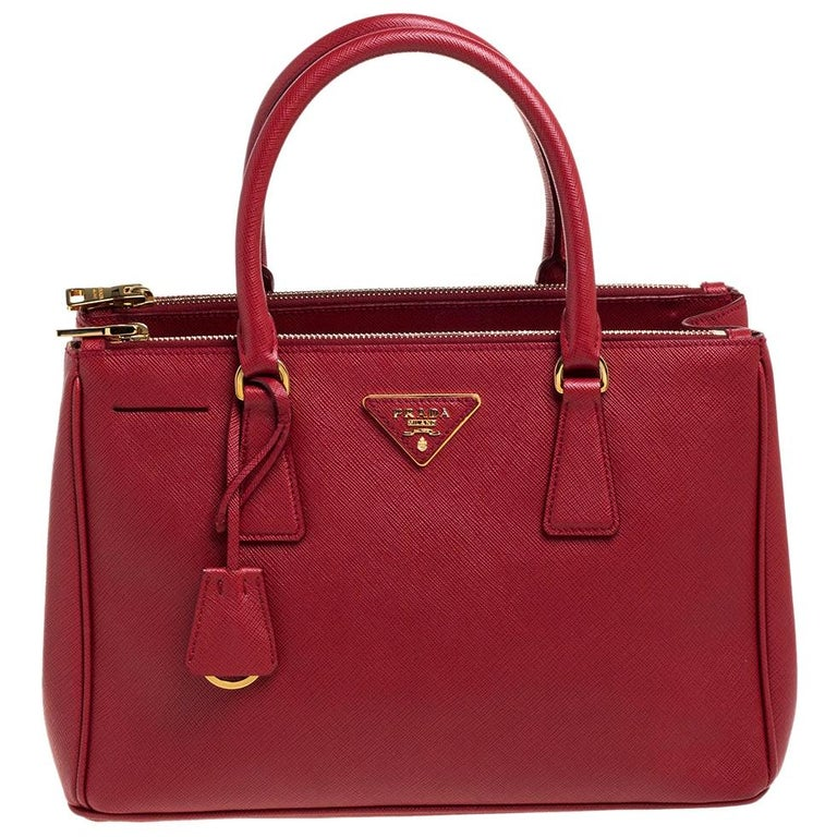 Prada Red Saffiano Lux Leather Small Galleria Double Zip Tote