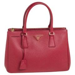 Prada Red Saffiano Lux Leather Small Galleria Tote