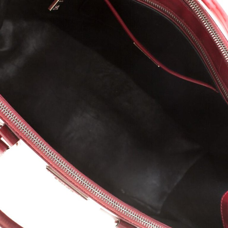 Prada Red Saffiano Lux Patent Leather Large Double Zip Tote For Sale 5