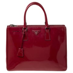 Prada Red Saffiano Lux Patent Leather Large Double Zip Tote