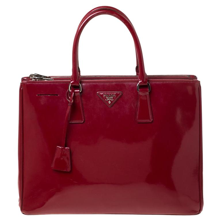 Prada Red Saffiano Lux Patent Leather Large Double Zip Tote For Sale