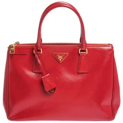 Prada Red Saffiano Patent Leather Medium Double Zip Tote