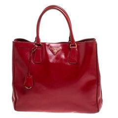 Prada Red Saffiano Patent Leather Medium Gardener's Tote