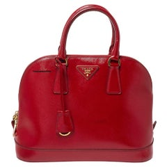 Prada Red Saffiano Patent Leather Promenade Satchel