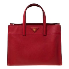 Prada Red Saffiano Soft Leather Tote