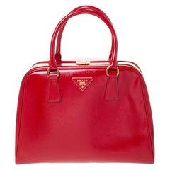 Prada Red Saffiano Vernice Leather Pyramid Frame Top Handle Bag