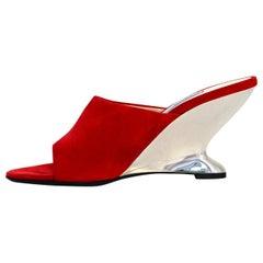 Prada Red Sculptural Metallic Wedge Heel Mules sz 39.5 rt $850