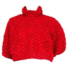 PRADA red silk blend QUILTED RUCHED CROPPED Jacket 42 M