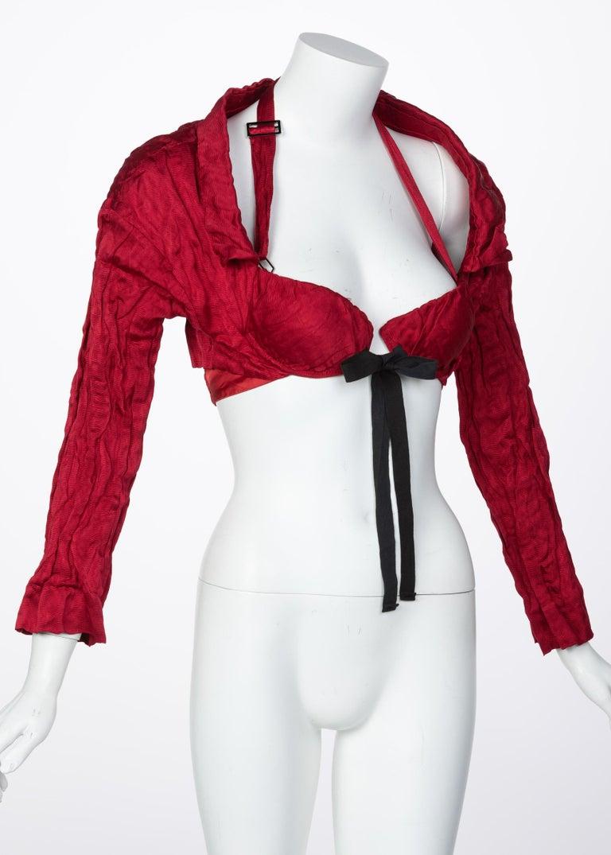 Gray Prada Red Silk  Bolero Bra Top, 2009 For Sale