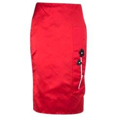 PRADA red silk SATIN FLORAL APPLIQUE Pencil Skirt 40 S