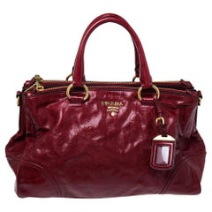 Prada Red Soft Leather Double Zip Convertible Tote