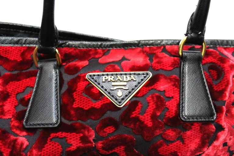 Women's Prada Red Suede Shopper Bag