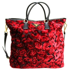 Prada Red Suede Shopper Bag