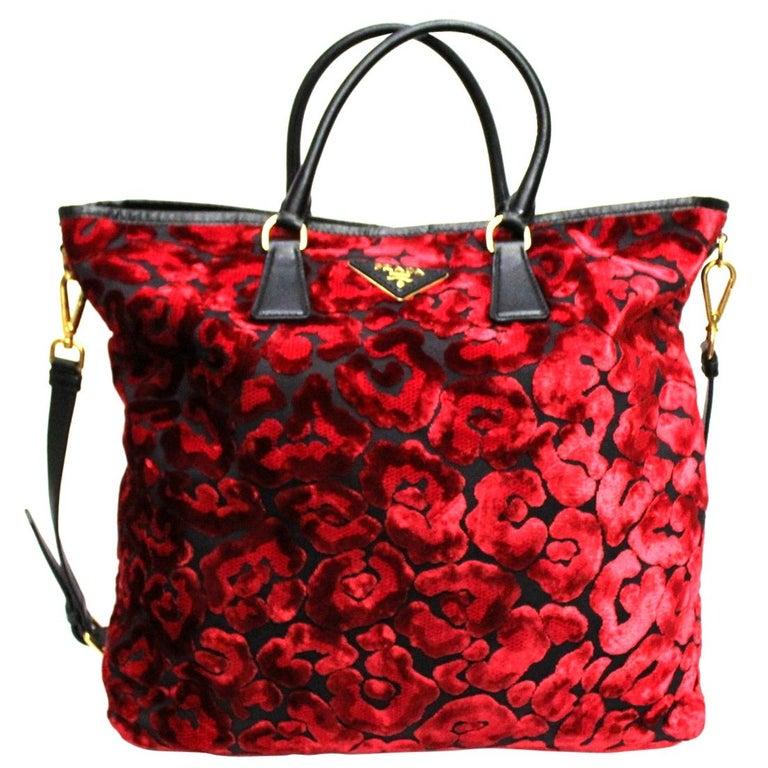 Prada Red Suede Shopper Bag