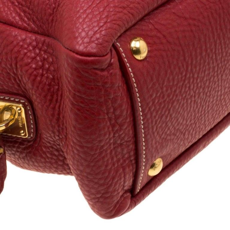 Prada Red Vitello Daino Leather Bauletto Satchel For Sale 6