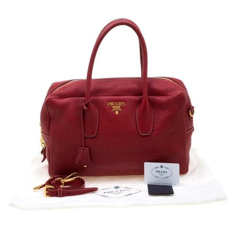 Prada Red Vitello Daino Leather Bauletto Satchel For Sale 7