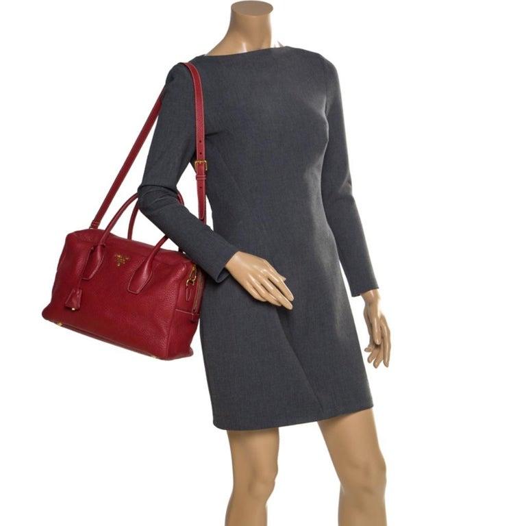 Prada Red Vitello Daino Leather Bauletto Satchel In Good Condition For Sale In Dubai, Al Qouz 2