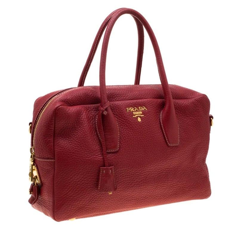 Women's Prada Red Vitello Daino Leather Bauletto Satchel For Sale