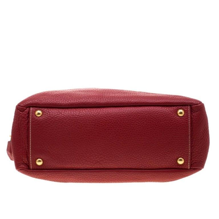 Prada Red Vitello Daino Leather Bauletto Satchel For Sale 1
