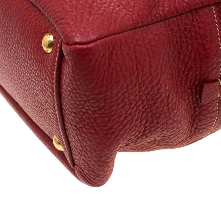 Prada Red Vitello Daino Leather Bauletto Satchel For Sale 2