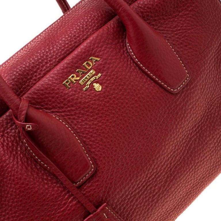 Prada Red Vitello Daino Leather Bauletto Satchel For Sale 3