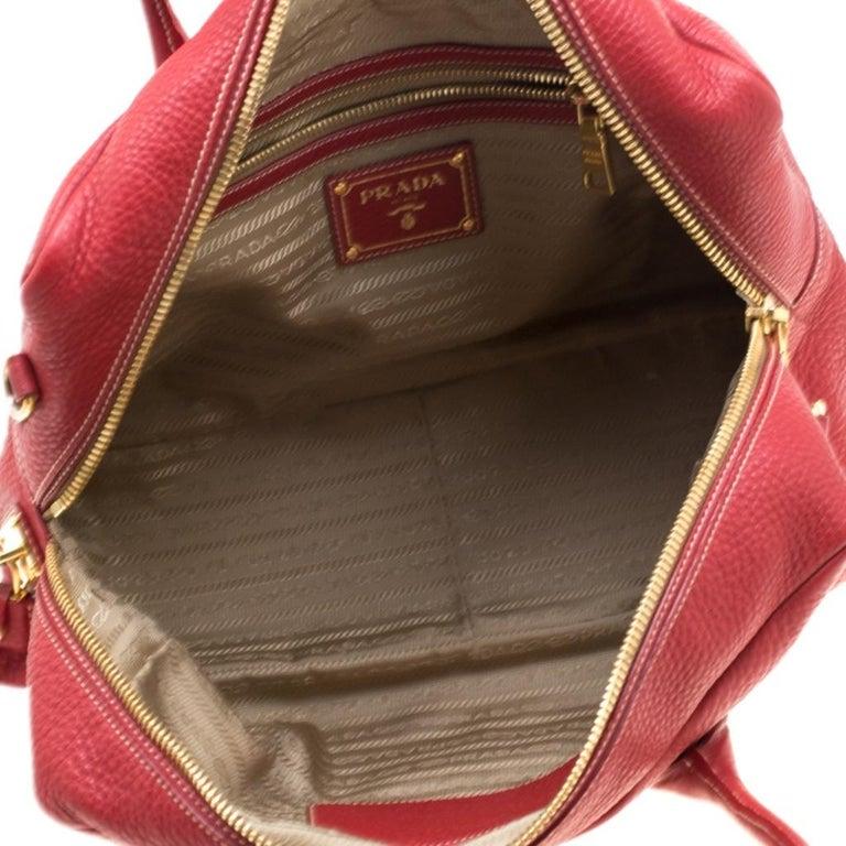 Prada Red Vitello Daino Leather Bauletto Satchel For Sale 4
