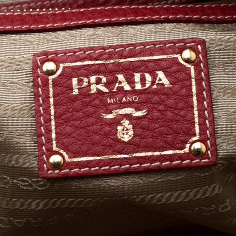 Prada Red Vitello Daino Leather Bauletto Satchel For Sale 5