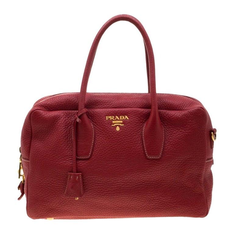 Prada Red Vitello Daino Leather Bauletto Satchel For Sale