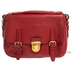 Prada Red Vitello Daino Leather Pushlock Flap Top Handle Bag