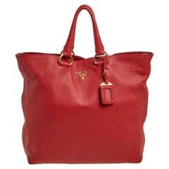 Prada Red Vitello Phenix Leather Shopper Tote