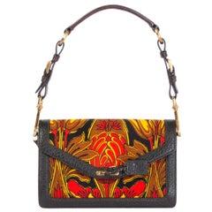 PRADA red & yellow PRINTED canvas Flap Shoulder Bag
