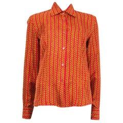 PRADA red yellow silk HOLLIDAY & BROWN LONDON Blouse Shirt 40 S