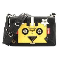 Prada  Robot Flap Shoulder Bag Mixed Media Leather Small