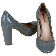Prada Round Toe Grey Chunk Heel Size 38.5