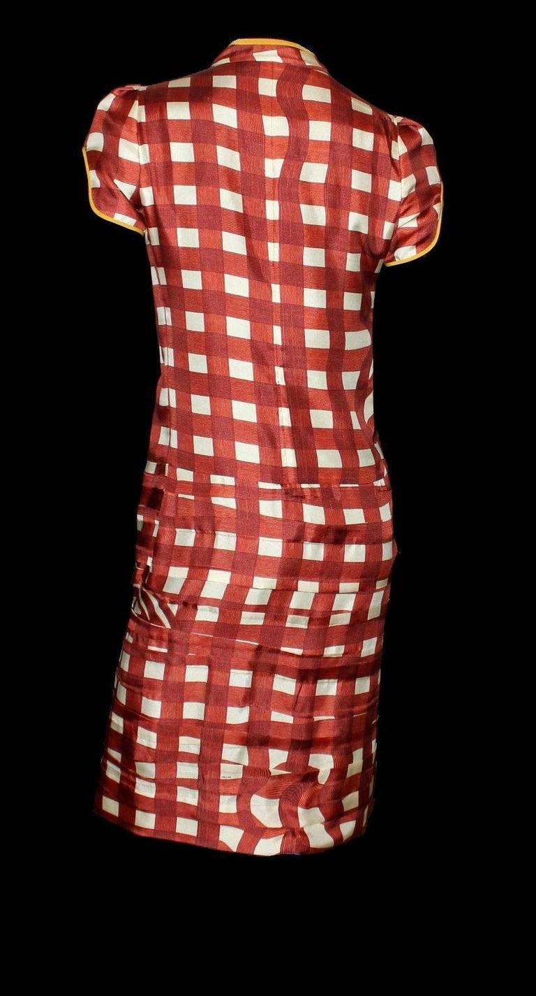 Women's Prada Ruched Fairytale Silk Dress Geometric Print  For Sale