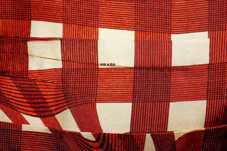 Prada Ruched Fairytale Silk Dress Geometric Print  For Sale 1